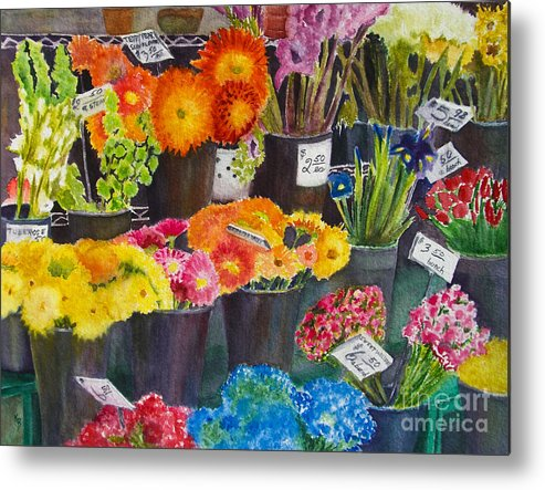 Flowers Metal Print featuring the painting The Flower Market by Karen Fleschler