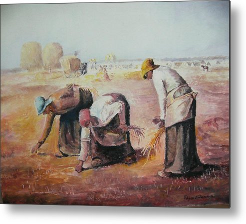 Gleaners Metal Print featuring the painting The Gleaners After Millet By My Dad by Anne-Elizabeth Whiteway