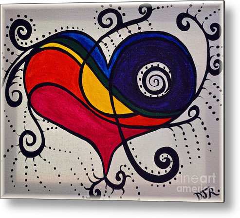 Rainbow Metal Print featuring the painting The Heart Don't Lie by Davids Digits