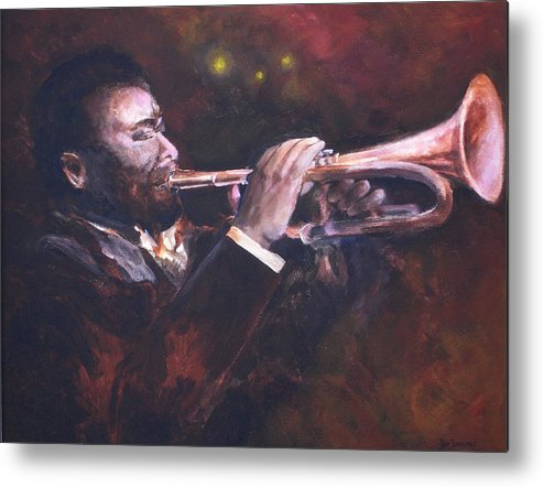 Trumpet Metal Print featuring the painting The Jazz Player by Jun Jamosmos