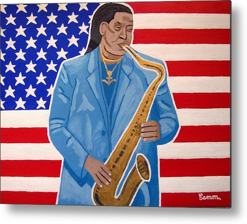 Clarence Clemons Metal Print featuring the painting The Late Great Clarence Clemons by Eamon Reilly