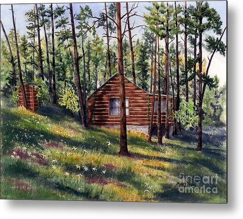 Nature Metal Print featuring the painting The Log Cabin by Mary Tuomi