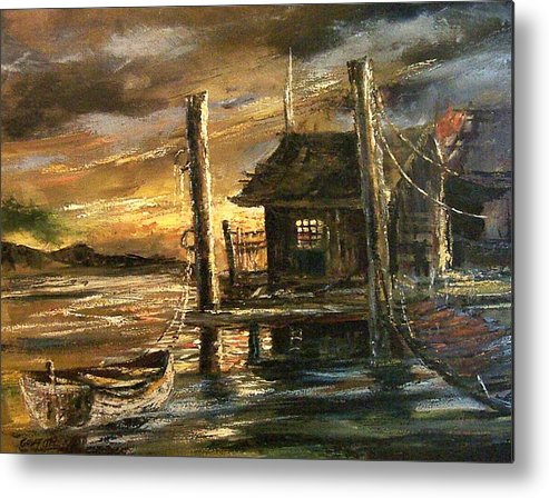 Seascape Metal Print featuring the painting The Old Wharf by Don Griffiths