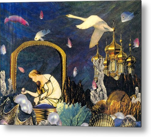 Surealism Metal Print featuring the mixed media The Pearl Of Great Price by Gail Kirtz