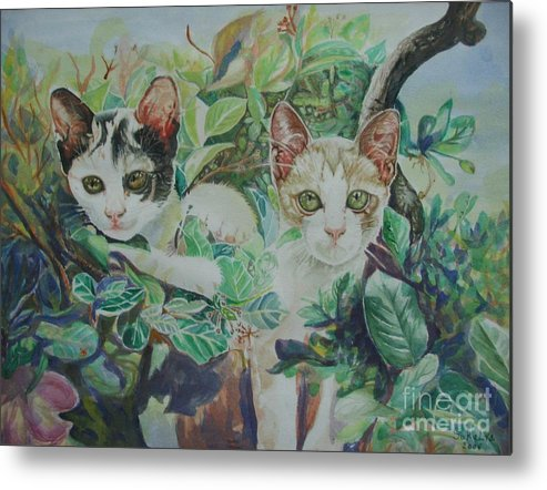Cats Metal Print featuring the painting The Sisters by Sukalya Chearanantana