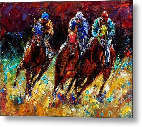 Horses Paintings Metal Print featuring the painting The Turn by Debra Hurd