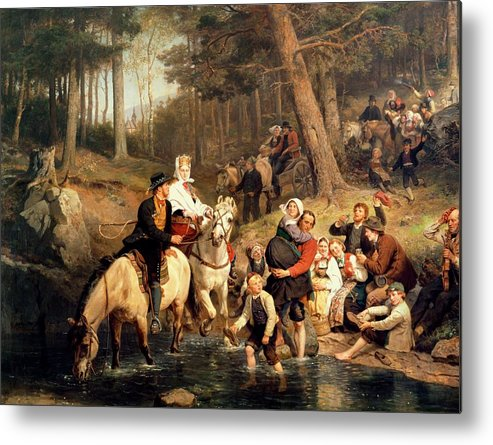 The Wedding Trek Metal Print featuring the painting The Wedding Trek by Adolphe Tidemand