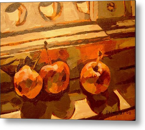 Canadian Art Metal Print featuring the painting Three Crabapples On A Window Sill by Tim Heimdal