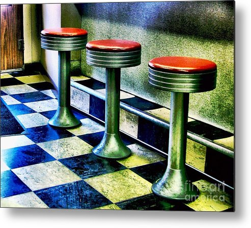 Retro Photography Metal Print featuring the photograph Three White Steamer Stools by Julie Dant