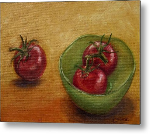 Food Metal Print featuring the painting Three's A Crowd by Tahirih Goffic