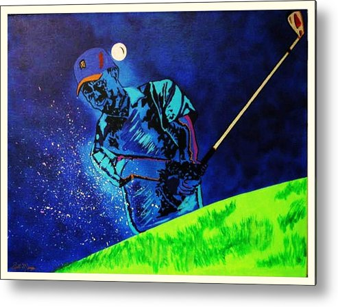 Tiger Woods Paintings Metal Print featuring the painting Tiger Woods-playing In The Sandbox by Bill Manson