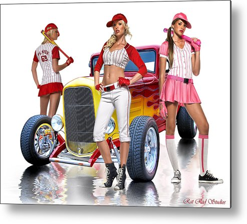 Hot Rod Metal Print featuring the digital art Time To Play Ball .... by Rat Rod Studios