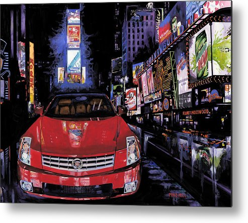2008 Red Cadillac Caddy Cad Times Square New York City Lights Cityscape Night Mountain Dew Metal Print featuring the painting Times Square ....cadillac by Mike Hill