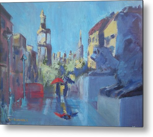 Famous Travel Metal Print featuring the painting Trafalgar Square by Bryan Alexander