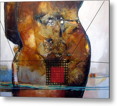 Abstract Metal Print featuring the painting Transwim by Dale Witherow
