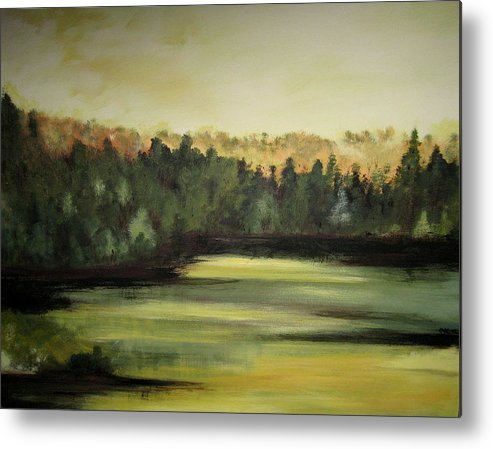 Landscape Metal Print featuring the painting Trees In The Mist3 by Marcia Crispino