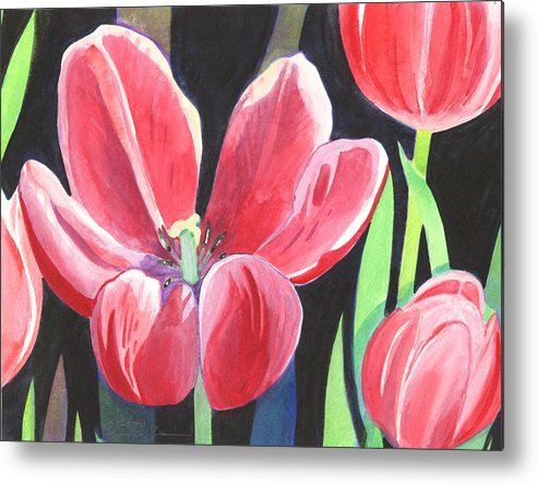 Flower Metal Print featuring the painting Tulips On Black by Helena Tiainen