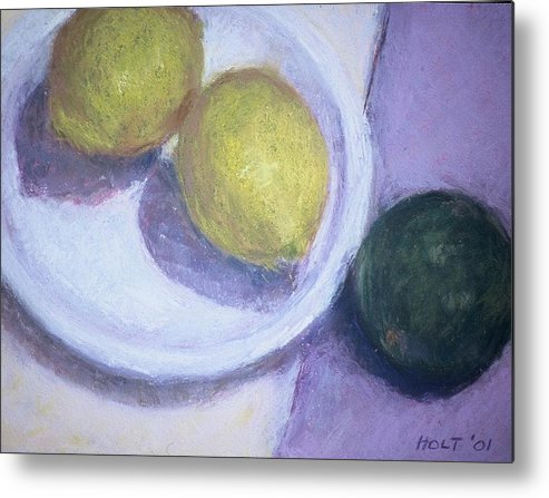 Still Life Metal Print featuring the painting Two Lemons With Lime by Dolores Holt