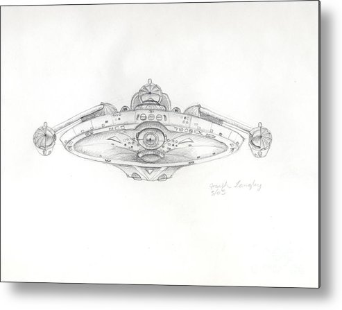Star Trek Metal Print featuring the drawing Uss Bering Sea Front View by Joseph A Langley