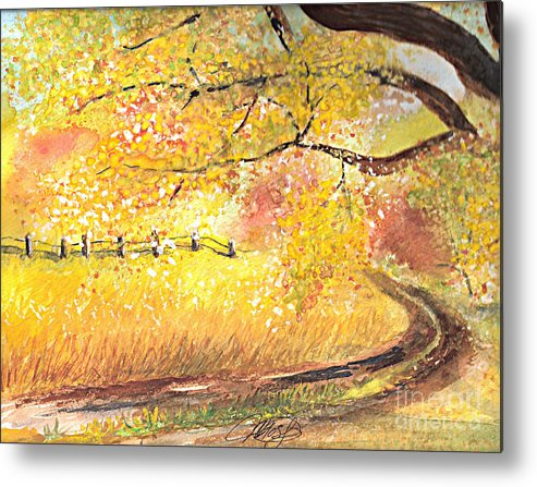 Landscape Metal Print featuring the painting Walk About by Vivian Mosley