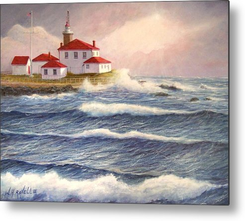 Seascape Metal Print featuring the painting Watch Hill Lighthouse In Breaking Sun by William H RaVell III