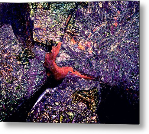 Water Metal Print featuring the photograph Waterdrop Abstract by Nancy Mueller