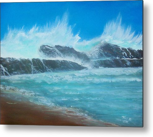 Seascape Metal Print featuring the painting Wave Fury by Tony Rodriguez