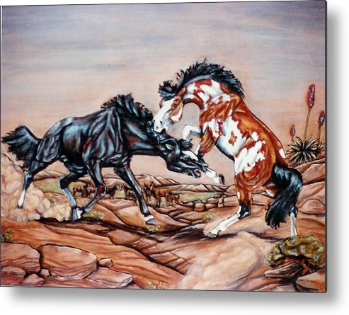 Leather Metal Print featuring the painting Who The Boss by Lilly King