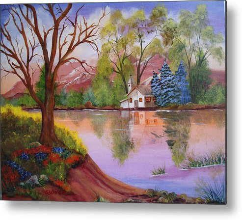 Landscape Reflection Building Church Lake Metal Print featuring the painting Wildwood Church by Sherry Winkler