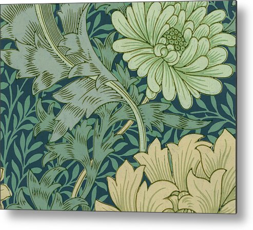 William Morris Wallpaper Sample With Chrysanthemum Metal Print