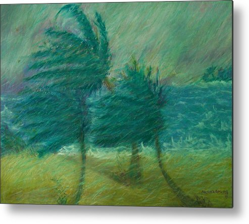 Pastel Metal Print featuring the painting Windy Day by Ana Bikic