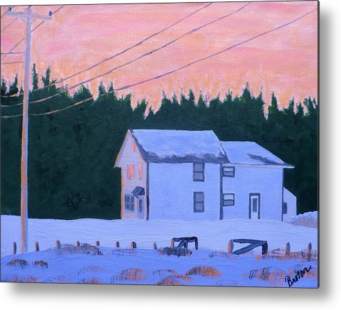 Maine Metal Print featuring the painting Winter Dusk by Laurie Breton