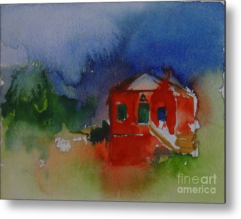Barn Red Watercolor House Home Abstract Original Leilaatkinson Metal Print featuring the painting Within Red by Leila Atkinson