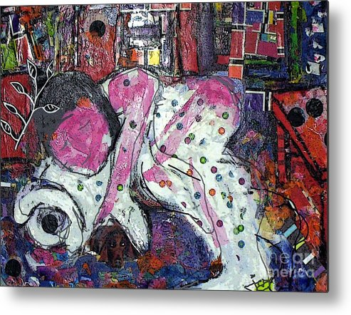Woman Metal Print featuring the painting Woman And Dog by Joyce Goldin