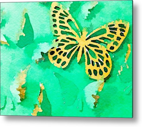 Butterfly Metal Print featuring the digital art Yellow And Green Butterfly by Ruby White