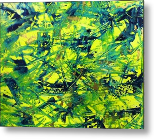 Abstract Metal Print featuring the painting Yellow And Green by Guillermo Mason