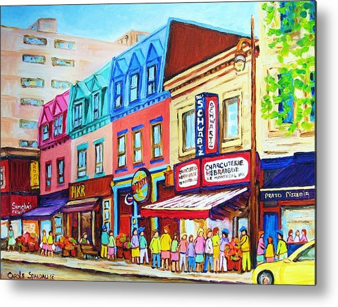Reastarant Metal Print featuring the painting Yellow Car At The Smoked Meat Lineup by Carole Spandau