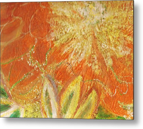 Orange Metal Print featuring the painting You Are My Sunshine Flower by Anne-Elizabeth Whiteway