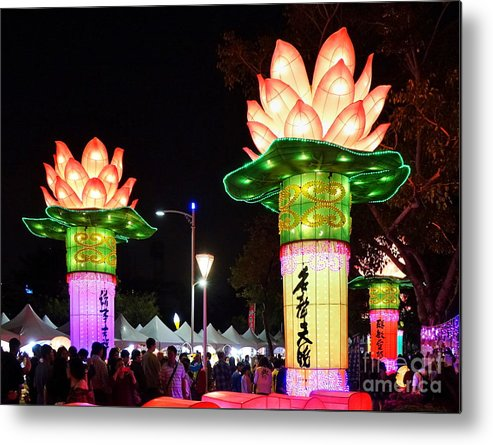 Taiwan Metal Print featuring the photograph Large Lanterns In The Shape Of Lotus Flowers by Yali Shi