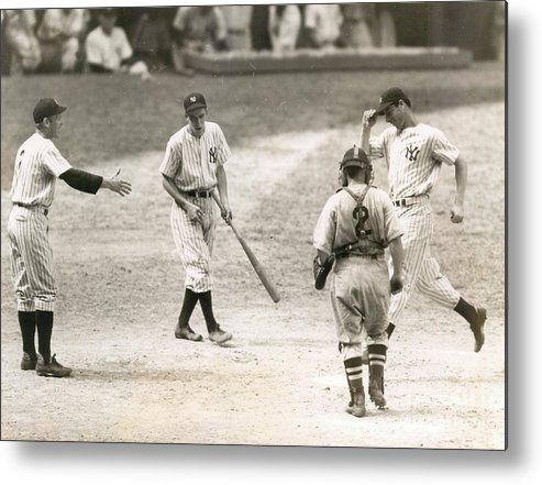 Home Base Metal Print featuring the photograph Baseball Star Joe Dimaggio by Sports Studio Photos
