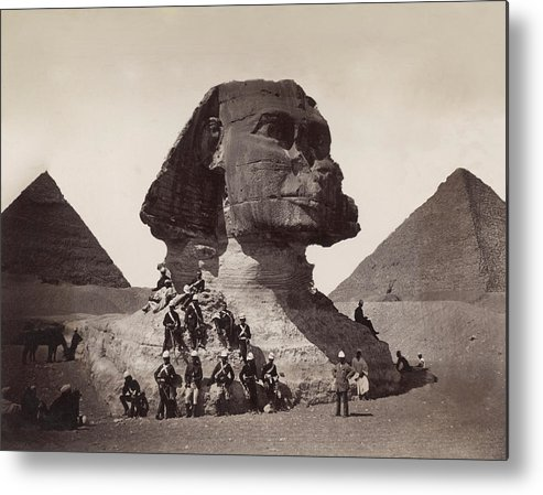 People Metal Print featuring the photograph British Soldiers At The Sphinx by Bettmann