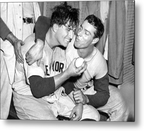 American League Baseball Metal Print featuring the photograph Joe Dimaggio Rewards Winning Pitcher by New York Daily News Archive