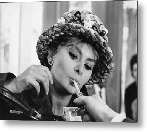 Smoking Metal Print featuring the photograph Sophia Smoking by Keystone Features