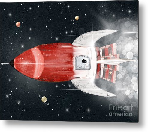 Astronauts Metal Print featuring the painting Space Voyager by Bri Buckley