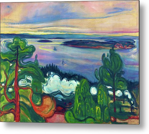 Edvard Munch Metal Print featuring the painting Train Smoke - Digital Remastered Edition by Edvard Munch