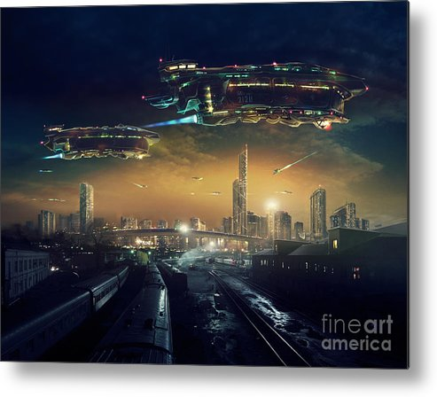 Fiction Metal Print featuring the digital art Urban Landscape Of Post Apocalyptic by Rustic