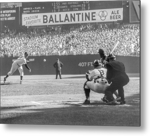 Baseball Catcher Metal Print featuring the photograph Jim Gilliam And Yogi Berra by The Stanley Weston Archive