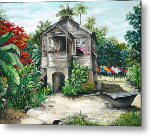 Landscape Painting Caribbean Painting House Painting Tobago Painting Trinidad Painting Tropical Painting Flamboyant Painting Banana Painting Trees Painting Original Painting Of Typical Country House In Trinidad And Tobago Metal Print featuring the painting Sweet Island Life by Karin Dawn Kelshall- Best