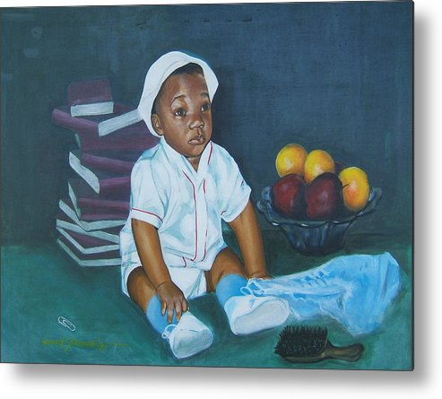 Child Metal Print featuring the painting Books And Fruit by Howard Stroman