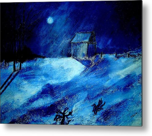 Landscape Metal Print featuring the painting Winter Moon by Kent Whitaker